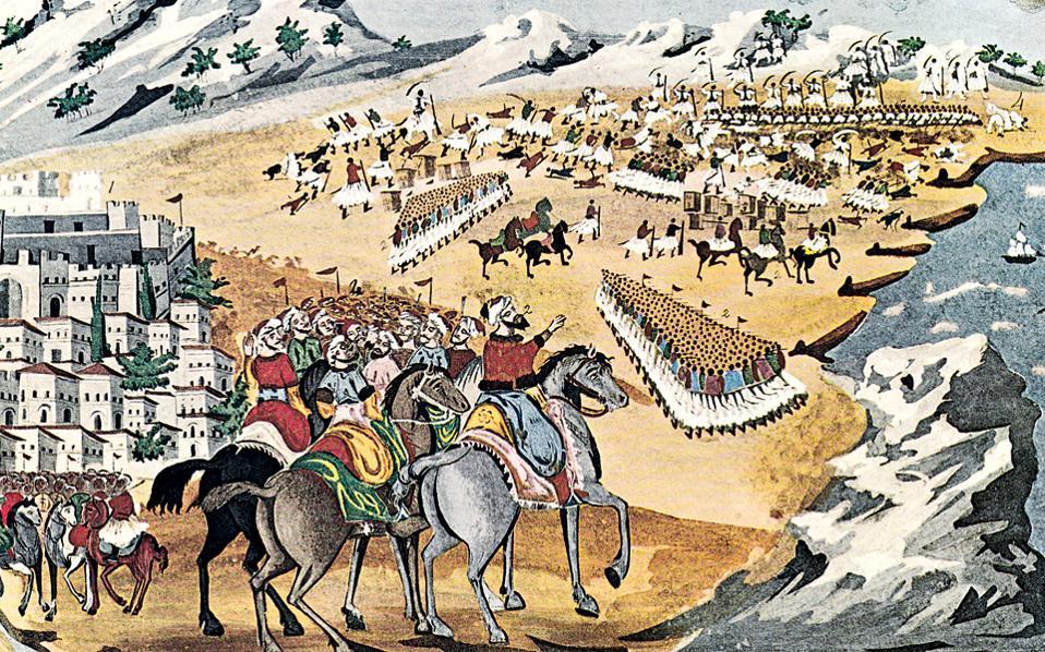 Υδατογραφία σε χαρτόνι των Ι. Μακρυγιάννη - Δ. Ζωγράφου με τον τίτλο «Μάχη της Λαγγάδας και Κομπότι». (Αθήναι, Γεννάδειος Βιβλιοθήκη.)