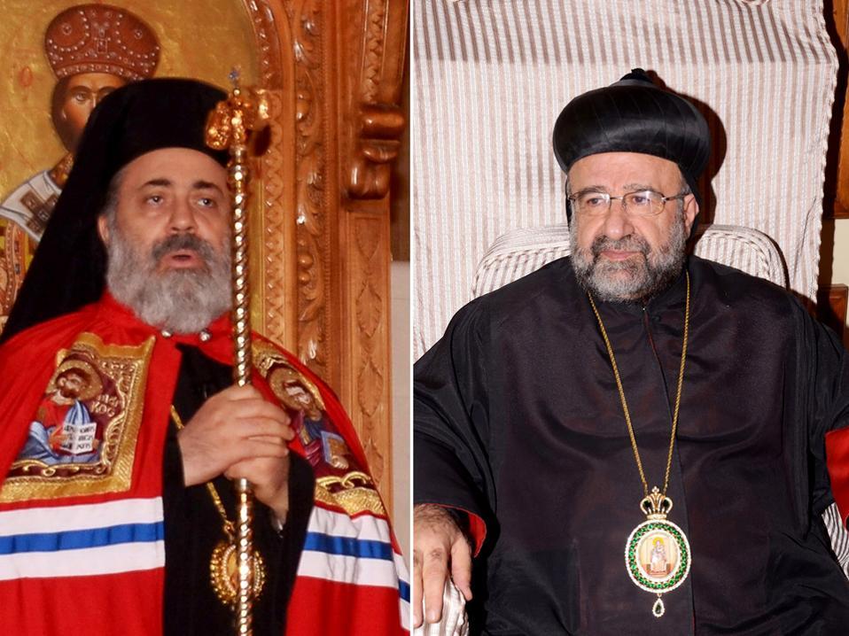 Αριστερά, ο ελληνορθόδοξος μητροπολίτης Χαλεπίου Παύλος Γιατζιτζής και δεξιά ο συρορθόδοξος επίσκοπος Γιοχάνα Ιμπραχίμ. Οι δύο ιερωμένοι απήχθησαν στις 22 Απριλίου την ώρα που διέσχιζαν τα σύνορα Τουρκίας - Συρίας, στον μεθοριακό σταθμό Μανσούρα, με προορισμό το Χαλέπι.