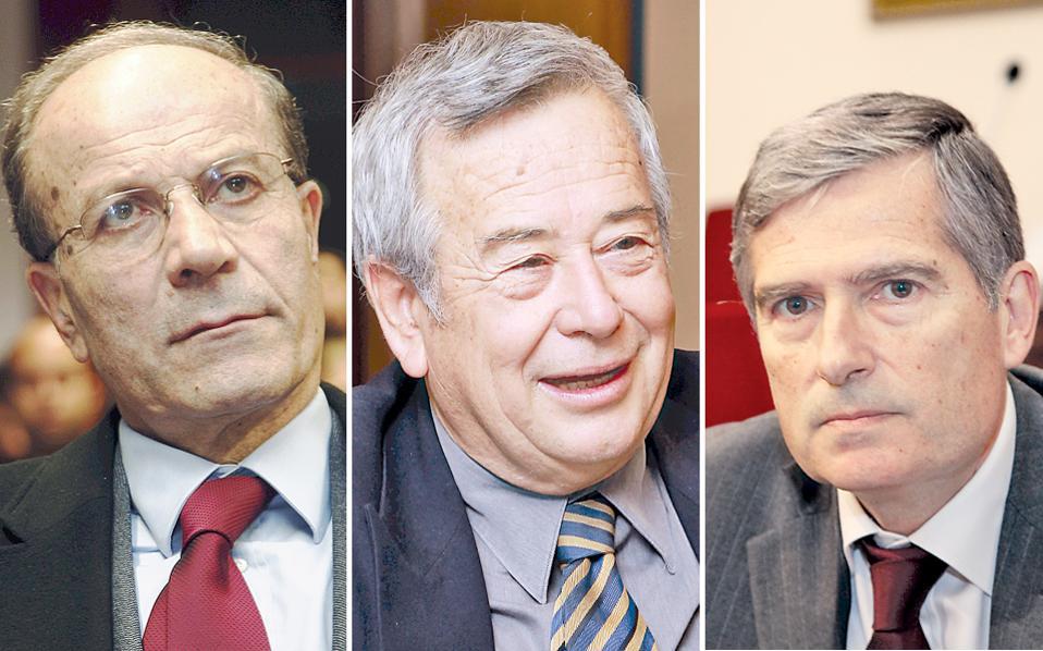 Οι κ. Μιχάλης Θεοχαρίδης, πρόεδρος του Αρείου Πάγου, Ιωάννης Καραβοκύρης, πρόεδρος του Ελεγκτικού Συνεδρίου και Διονύσης Λασκαράτος, γενικός επίτροπος του Ελεγκτικού Συνεδρίου.