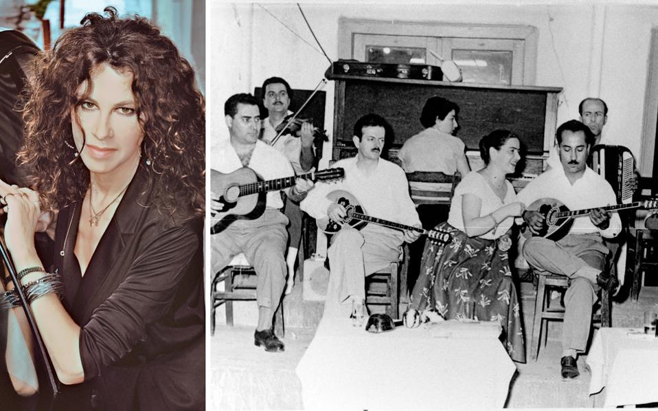 Αριστερά, Κλασικά αλλά και άγνωστα τραγούδια του Βασίλη Τσιτσάνη θα περιλαμβάνει το αφιέρωμα της Ελευθερίας Αρβανιτάκη στο Ηρώδειο. Δεξιά, 1954: Ο Βασίλης Τσιτσάνης στο θρυλικό «Φαληρικόν» του Μαργωμένου. Στο κέντρο, η τραγουδίστρια Αννα Χρυσάφη, δίπλα της, στο μπουζούκι, ο Ανέστης Αθανασίου, γνωστός και ως Ανέστης «Γύφτος» Αθανασίου, λόγω της τσιγγάνικης καταγωγής του, και στο πιάνο η σπουδαία Ευαγγελία Μαργαρώνη.