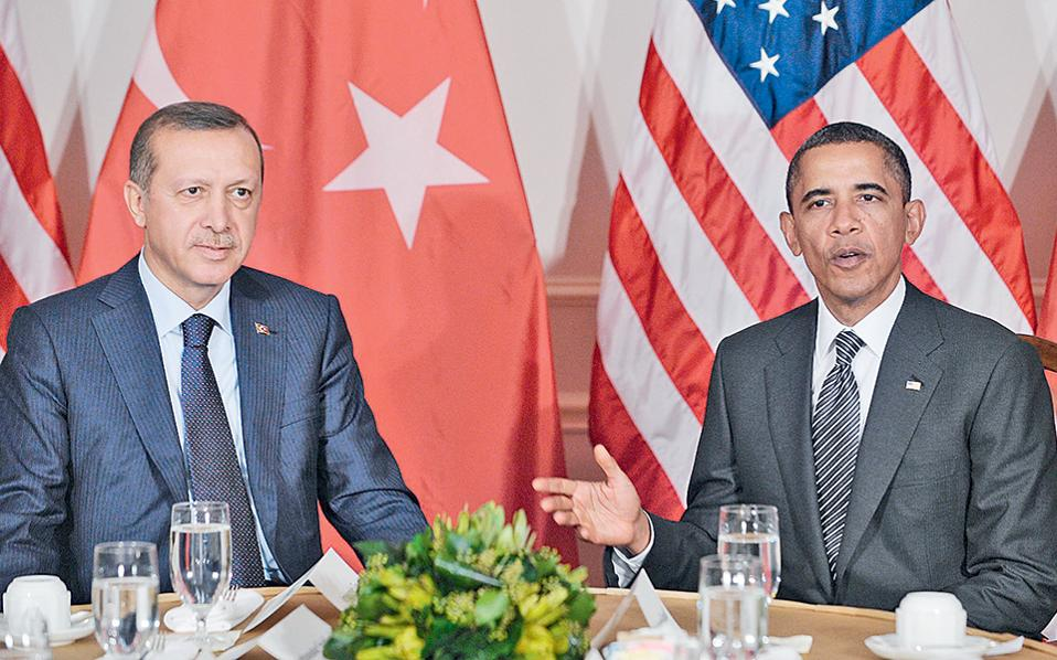 Φωτογραφία του 2011, από συνάντηση εργασίας στο ξενοδοχείο «Ουόλντορφ» της Νέας Υόρκης μεταξύ Ομπάμα και Ερντογάν.