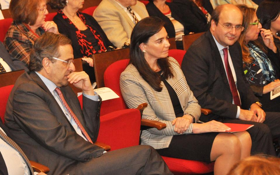 Στο πολυπληθές ακροατήριο εκτός του πρωθυπουργού Αντ. Σαμαρά και της συζύγου του Γεωργίας, ήταν ουκ ολίγοι υπουργοί και στελέχη της Ν.Δ.
