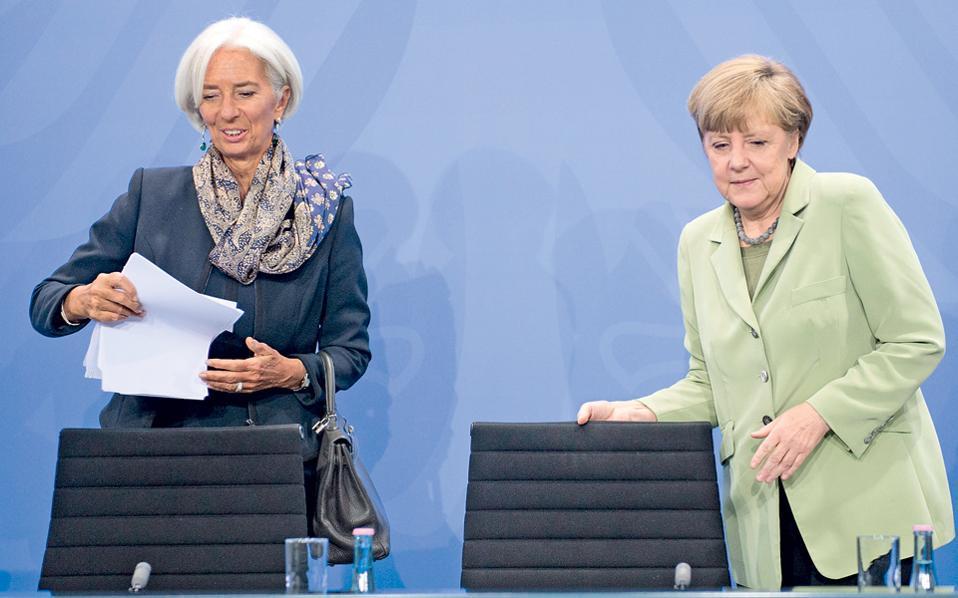 Η επικεφαλής του ΔΝΤ Κριστίν Λαγκάρντ και η καγκελάριος της Γερμανίας Αγκελα Μέρκελ παίζουν καθοριστικό ρόλο στην εξέλιξη των διαπραγματεύσεων μεταξύ Αθήνας και τρόικας.