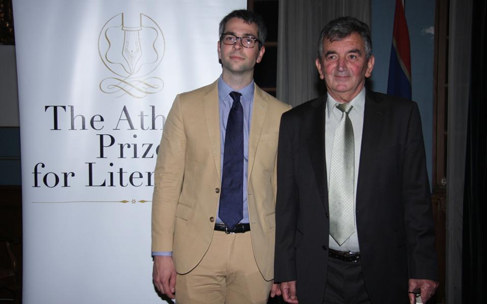 Οι βραβευμένοι συγγραφείς Αντονι Μάρα και Τηλέμαχος Κώτσιας.
