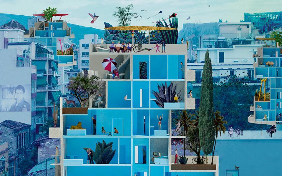 Αφίσα του αρχιτεκτονικού γραφείου Point Supreme που ταυτίζει την ελληνική πρωτεύουσα με την πολυκατοικία.