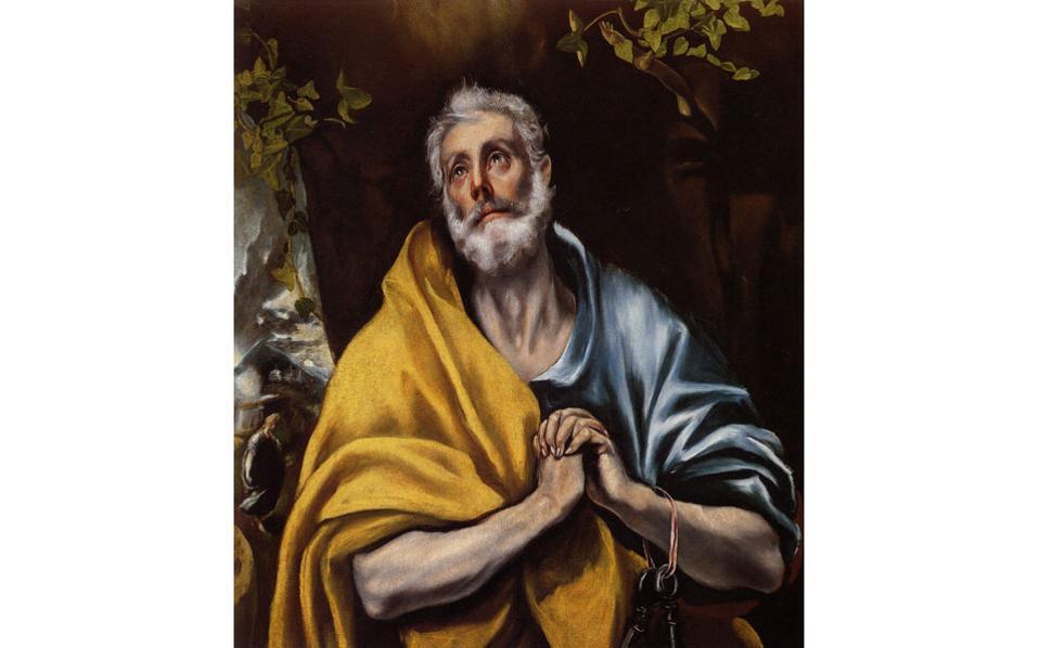 «Τα δάκρυα του Αγίου Πέτρου», (1605), του Δομήνικου Θεοτοκόπουλου. «Κρης εποίει», υπέγραφε καθ' όλη τη διάρκεια της ζωής του.