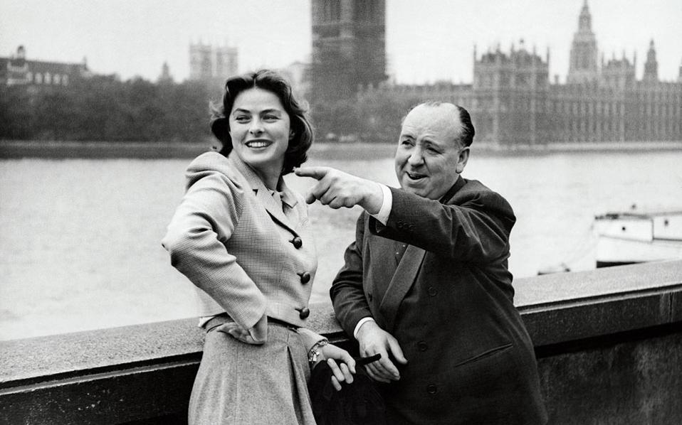 Με την Ινγκριντ Μπέργκμαν στο Λονδίνο, το χειμώνα του 1948. Η σχέση τους ήταν τρυφερή, αλλά έμεινε πλατωνική εξαιτίας της αποστροφής του Χίτσκοκ για το σεξ.