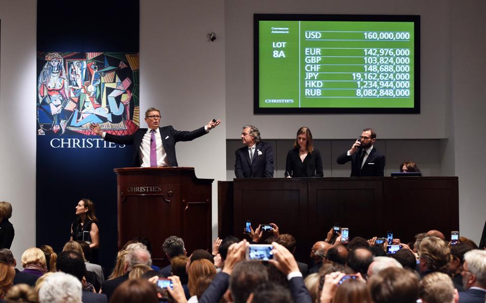 Κάθε προηγούμενο ρεκόρ δημοπρασίας έργου τέχνης έσπασε το έργο «Γυναίκες του Αλγερίου, Εκδοχή Ο» του Πάμπλο Πικάσο, που αγοράσθηκε έναντι 179,4 εκατομμυρίων δολαρίων στη Νέα Υόρκη, ύστερα από φρενήρη διεκδίκηση, διάρκειας μόλις 11 λεπτών.