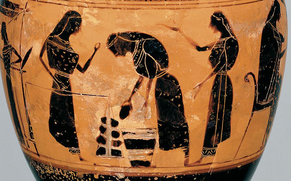 Αγγείο όπου απεικονίζεται η προετοιμασία του μαλλιού και η διαδικασία ύφανσης σε όρθιο αργαλειό.