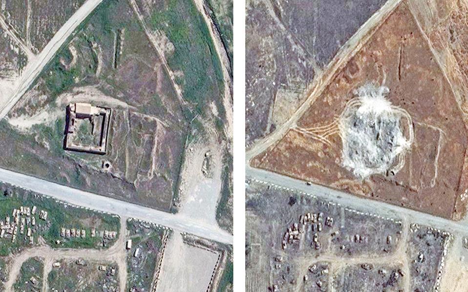 Μοναστήρι του 11ου αιώνα στη Μοσούλη, σε φωτογραφίες από δορυφόρο. Αριστερά όπως ήταν έως το 2014 και δεξιά όπως είναι σήμερα, μετά την ισοπέδωσή του από τους τζιχαντιστές.