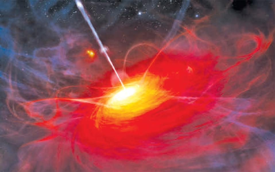 Γραφική απεικόνιση τουULAS J1120+0641, του μακρινότερου σήμερα quasar (12,9 δισεκατομμύρια έτη φωτός) που περιέχει μια μελανή οπή (μαύρη τρύπα) μάζας 2 δισεκατομμυρίων ηλιακών μαζών.