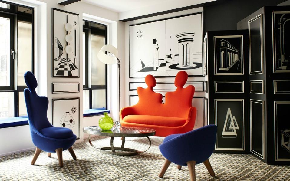 Καθίσματα Maison Darré στη σουίτα Noir Métaphysique