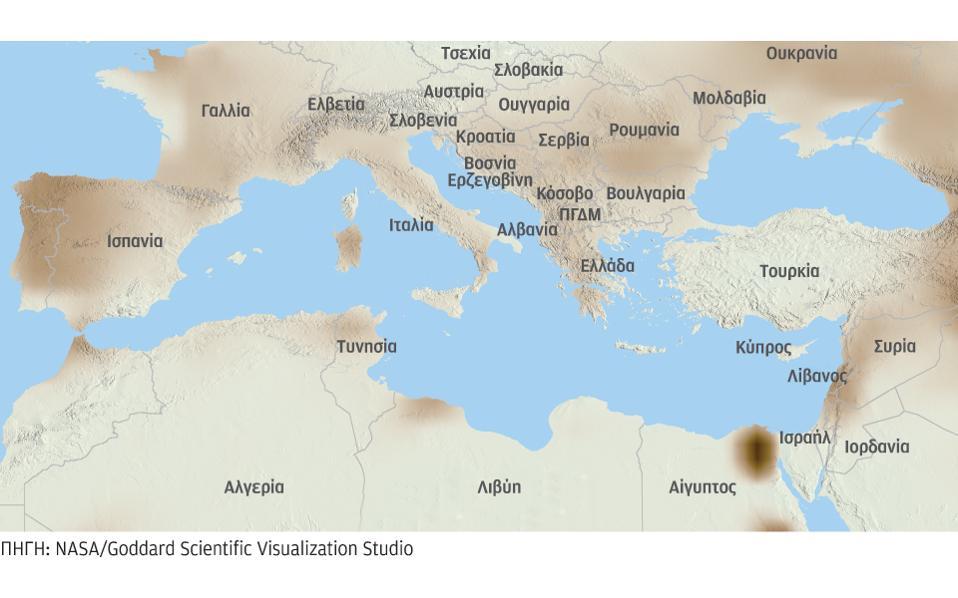 Οι σκιασμένες περιοχές στην ευρύτερη περιοχή της Μεσογείου, στον χάρτη της NASA, δείχνουν τη μεγάλη μείωση αποθεμάτων νερού κατά το διάστημα 2012-2015.