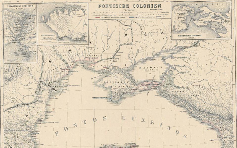«Αποικίες του Πόντου». Χάρτης του Γερμανού ιστορικού και γεωγράφου Χάινριχ Κίπερτ, σχεδιασμένος το 1867. Εικονίζονται οι αρχαίες πόλεις της Μαύρης Θάλασσας, πολλές από τις οποίες ήταν ελληνικές αποικίες.
