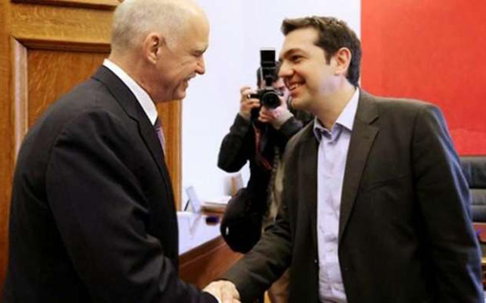 Στο Μέγαρο Μαξίμου υποδέχθηκε τον Γ.Παπανδρέου ο πρωθυπουργός, Αλέξης Τσίπρας.