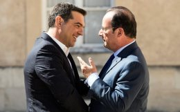 Ο Ελληνας πρωθυπουργός με τον Γάλλο Πρόεδρο, Φρανσουά Ολάντ.