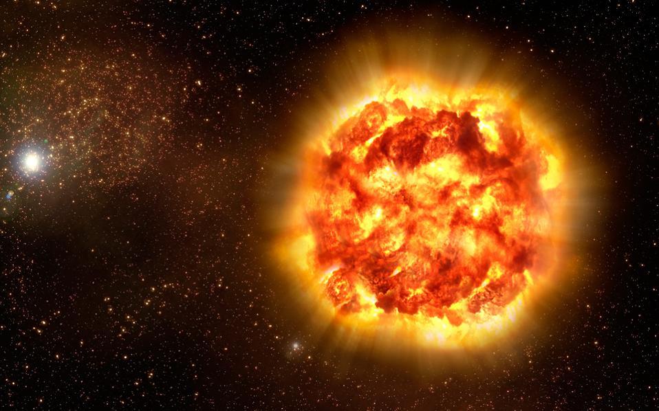 Καλλιτεχνική απεικόνιση της στιγμής της έκρηξης ενός υπερκαινοφανούς αστέρος. «Αυτές οι εκρήξεις αποτελούν τον κύριο μηχανισμό ανακύκλωσης για τα μέταλλα που συνθέτουν τους πλανήτες και εμάς. Η ζωή χωρίς υπερκαινοφανείς αστέρες είναι αδύνατη», λέει ο Ιάσων Σπυρομίλιος.