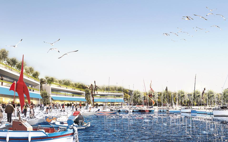 Μακέτα από το σχέδιο αξιοποίησης μέρους της έκτασης του πρώην αεροδρομίου του Ελληνικού. Η ανάπτυξη εγκαταστάσεων, όπως σύγχρονο συνεδριακό κέντρο, υπηρεσίες υγείας και εκπαίδευσης, καζίνο, μαρίνα και μητροπολιτικό πάρκο, θα ενισχύσει το προφίλ της Αθήνας ως διεθνούς προορισμού.
