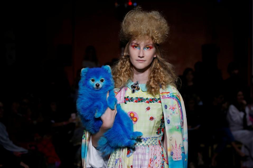 Αξεσουάρ. Μπλε βάφτηκε το σκυλάκι για την επίδειξη του Ινδού σχεδιαστή Manish Arora. Η εβδομάδα μόδας στο Παρίσι συνεχίζεται.  REUTERS/Gonzalo Fuentes