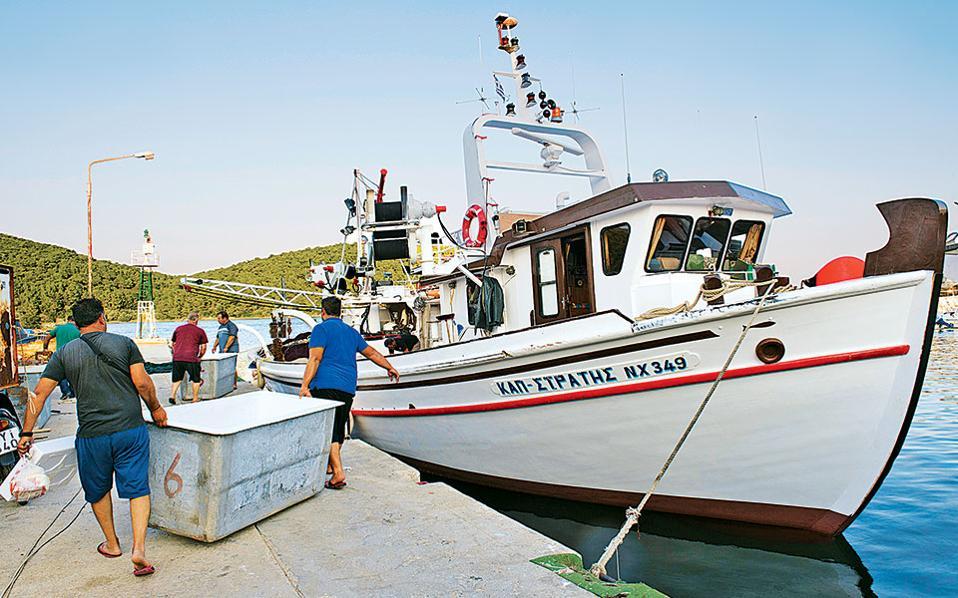 Το πλήρωμα μεταφέρει στο γρι γρι τα κιβώτια για τη συντήρηση των ψαριών. (Φωτογραφία: ΒΑΓΓΕΛΗΣ ΖΑΒΟΣ)