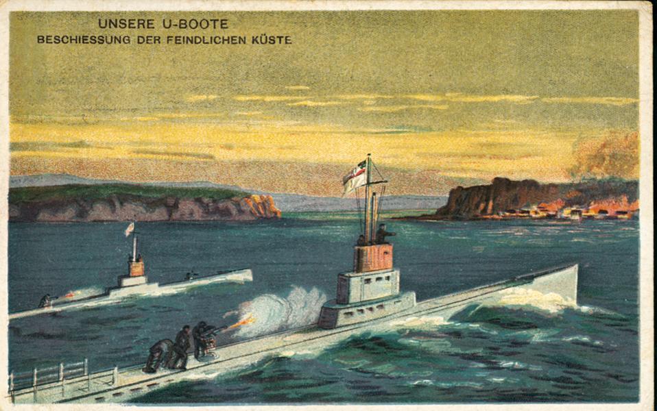 Γερμανική καρτ ποστάλ του Α΄ Παγκοσμίου Πολέμου με δύο υποβρύχια σε επίθεση. Σε ένα τέτοιου τύπου υποβρύχιο επιβιβάστηκαν οι «ορκισμένοι βασιλικοί» αξιωματικοί για να μεταβούν στην Ελλάδα από τη ναυτική βάση των Αυστρογερμανών Πόλα της Ιστριας, στον μυχό της Αδριατικής. Εντολή είχαν να μεταφέρουν μηνύματα του εκθρονισμένου βασιλιά Κωνσταντίνου στον γιο του βασιλιά Αλέξανδρο.