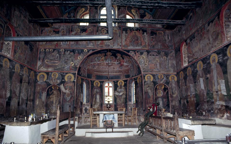 Τμήμα της τεράστιας σε έκταση τοιχογραφίας (ανατολικός τοίχος) στην Τράπεζα της Μονής Μεγίστης Λαύρας του Αγίου Ορους.
