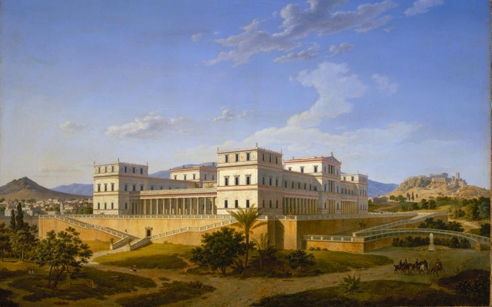Το έργο του Λέο φον Κλέντσε: Παλάτι στην Αθήνα. Ο πίνακας ταξίδεψε από τις αίθουσες του Ερμιτάζ στο Βυζαντινό και Χριστιανικό Μουσείο.