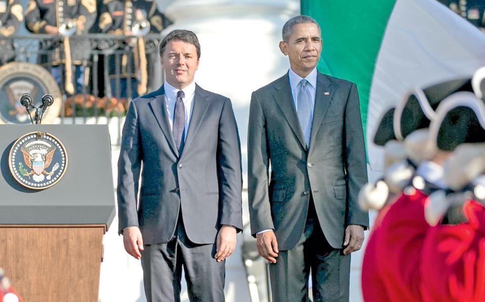 Ο Αμερικανός πρόεδρος Μπαράκ Ομπάμα υποδέχθηκε χθες στον Λευκό Οίκο τον Ιταλό πρωθυπουργό Ματέο Ρέντσι και του παρέσχε θερμή στήριξη, τονίζοντας ότι αντιτίθεται στη λιτότητα στην Ευρώπη και επαναλαμβάνοντας ότι η έμφαση πρέπει να δοθεί στην ανάπτυξη. Οι δύο ηγέτες συμφώνησαν ότι η δημιουργία θέσεων εργασίας και η ευημερία αποτελούν προτεραιότητά τους. Σελ. 3