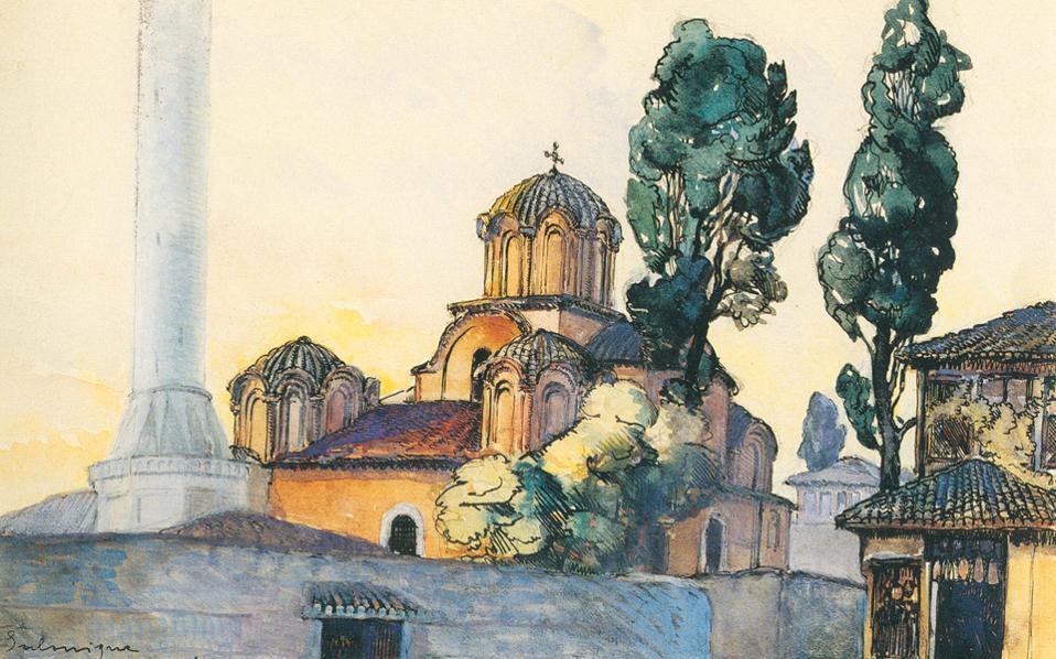 Ο ναός της Αγίας Αικατερίνης, 1916, του Miklos Rameaux από τις χειρόγραφες σημειώσεις «Salonique/Miklos/1916». (Συλλογή Αρσέν και Ρουπέν Καλφαγιάν)