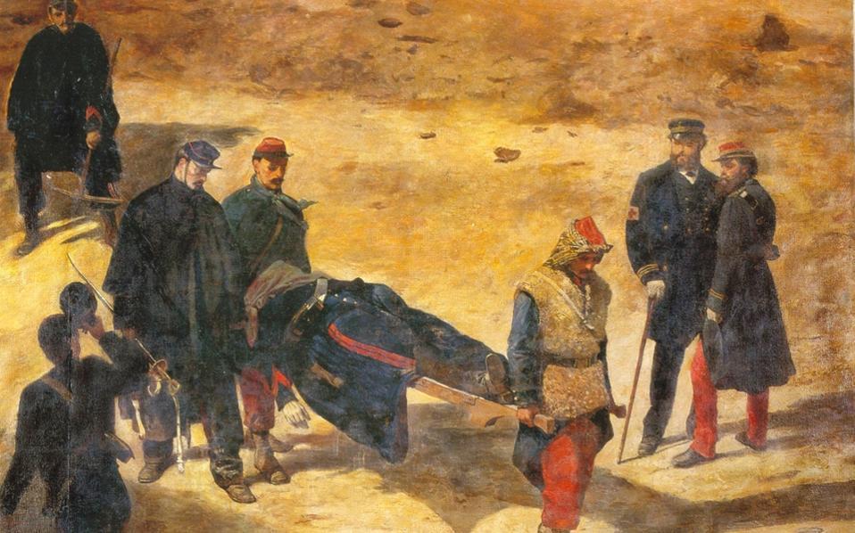 Ο έφιππος πυροβολητής Maurice Etcheverry μεταφέρεται νεκρός στον γαλλοπρωσικό πόλεμο (1870-71). Είναι ο έκτος και μεγαλύτερος σωζόμενος πίνακας του Πανοράματος «Πολιορκία του Παρισιού» του Ανρί Φιλιποτό και του γιου του, Πολ.