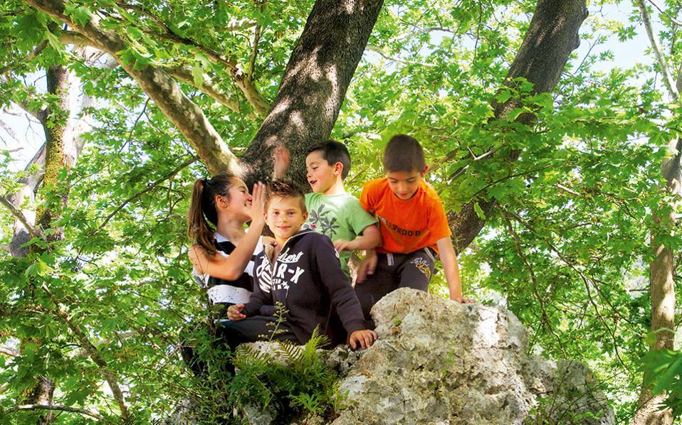 Στον χώρο αναψυχής της Γλυκής τα παιδιά απολαμβάνουν τη φύση με... κάθε τρόπο. (Φωτογραφία: ΟΛΓΑ ΧΑΡΑΜΗ)