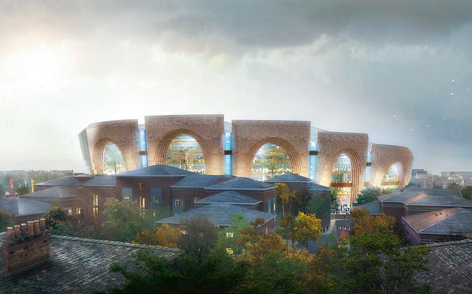 ΛΟΝΔΙΝΟ, νέο στάδιο της ποδοσφαιρικής ομάδας Τσέλσι, εξωτερική όψη. Αρχιτεκτονικό γραφείο: Heatherwick Studio