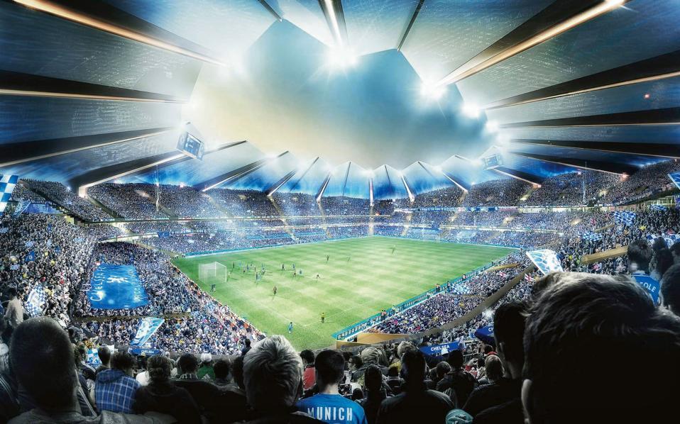 ΛΟΝΔΙΝΟ, νέο στάδιο της ποδοσφαιρικής ομάδας Τσέλσι, εσωτερική όψη. Αρχιτεκτονικό γραφείο: Heatherwick Studio
