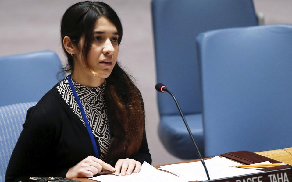 Η Νάντια Μουράντ Μπασί Τάχα καταθέτει τη μαρτυρία της στο Συμβούλιο Ασφαλείας του ΟΗΕ.