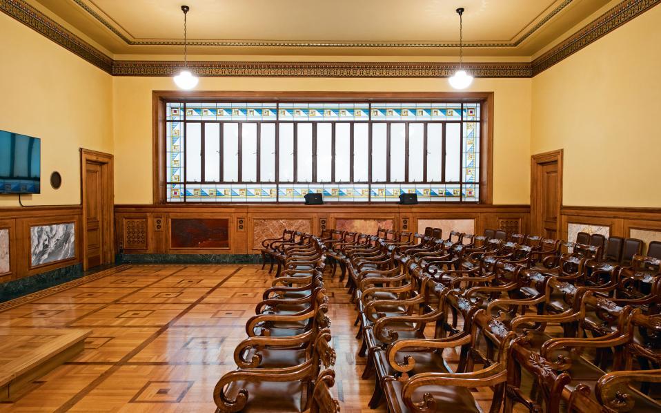 Η αίθουσα Γενικών Συνελεύσεων, η οποία, εκτός από αυτό που υποδηλώνει το όνομά της, χρησιμοποιείται για όλες τις εκδηλώσεις της τράπεζας.