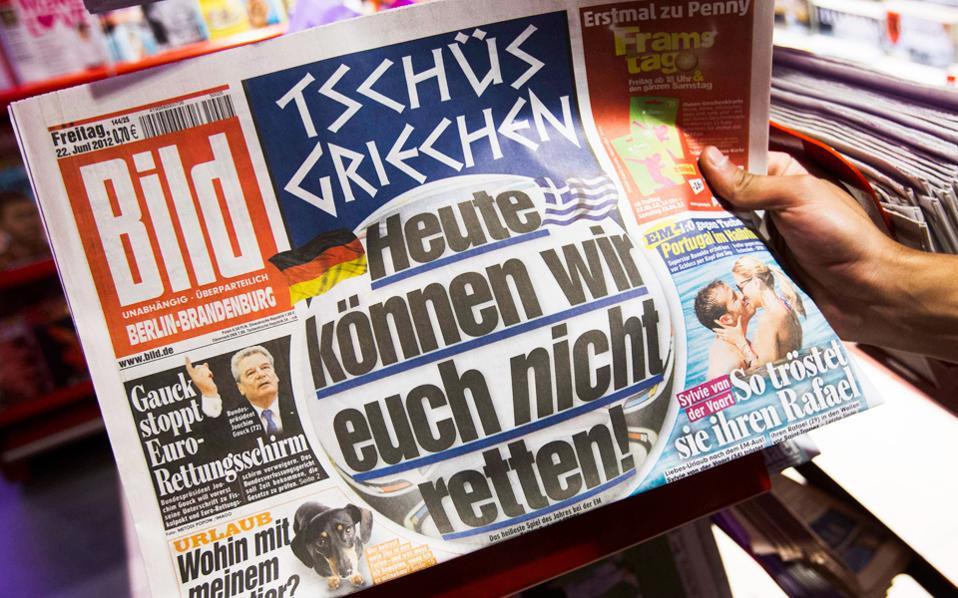Φύλλο της γερμανικής εφημερίδας Bild του 2012. Η εφημερίδα έδωσε βήμα στην εσωκομματική αντιπολίτευση των Χριστιανοδημοκρατών, που βλέπει στον ορίζοντα νέα δάνεια προς την Ελλάδα.