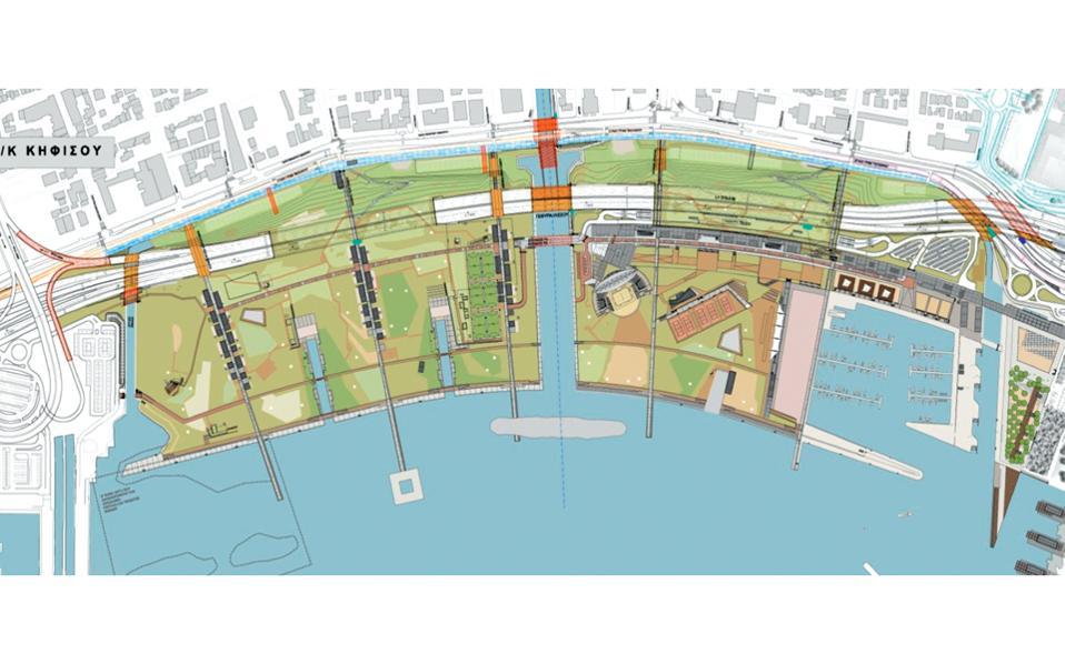 Το σχέδιο της ανάπλασης του Φαληρικού Ορμου. Η λεωφόρος Ποσειδώνος μετακινείται προς τη θάλασσα, καλύπτεται σε δύο σημεία και γεφυρώνεται σε άλλα δύο, ώστε να αποκατασταθεί η σύνδεση της πόλης με το παραλιακό μέτωπο. Στη σημερινή θέση της λεωφόρου δημιουργείται ένα ξηρό αντιπλημμυρικό κανάλι.