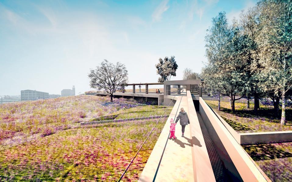 Μία από τις διαδρομές μέσα στο πάρκο που οριοθετεί τον διαφορετικό τρόπο φύτευσης: ένα νέο πυκνό πάρκο σε επαφή με την πόλη και η φυσική επέκταση της ημιάγριας βλάστησης του αρχαιολογικού χώρου.