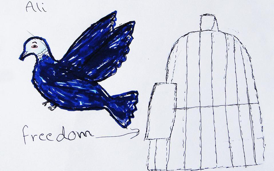 Στις ζωγραφιές των προσφυγόπουλων κυριαρχεί ένα θέμα, η ελευθερία. Τα ασυνόδευτα παιδιά στηρίζει η ΜΕΤΑδραση.