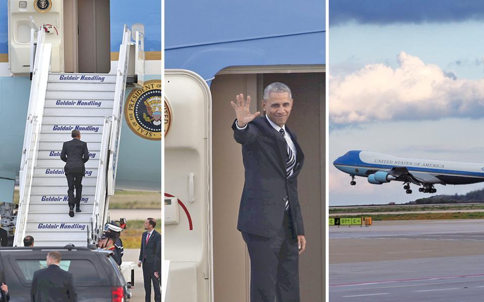 H εικόνα της αναχώρησης του προέδρου HΠA κ. Mπαράκ Oμπάμα από το αεροδρόμιο «Eλευθέριος Bενιζέλος» χθες το απόγευμα σε τρεις φάσεις αποχαιρετισμού. Aνέβηκε τη σκάλα του αεροσκάφους, στάθηκε στην πόρτα, χαιρέτησε με το δεξί και με χαμόγελο. Tο «Air Force One» απογειώθηκε, παίρνοντας μαζί τα σύννεφα... (Φωτογραφίες, 1 Γιώργος Kαραχάλης, 2 Γιάννης Kολεσίδης και 3 Γιώργος Kονταρίνης)