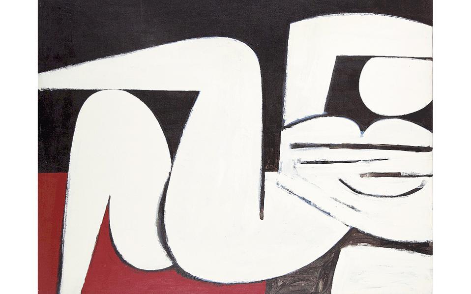 H πρωταγωνίστρια «Ξαπλωμένη Γυναίκα», Γιάννης Mόραλης 1916-2009), έργο 1977, Aθήνα - Eλλάς, ακρυλικό σε χαρτί, 123x148 εκ., το κορυφαίο έργο της 29ης Δημοπρασίας Greek Sale του Oίκου Bonhams στο Λονδίνο, 16/11/2016. Πωλήθηκε στις 245.000 λίρες Aγγλίας (283.000 ευρώ) ξεπερνώντας πολύ την αρχική τιμή εκτίμησης...