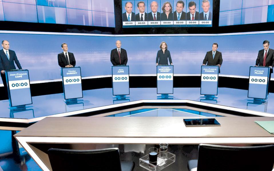 Από αριστερά:  οι υποψήφιοι Ζαν - Φρανσουά Κοπέ, Νικολά Σαρκοζί, Αλέν Ζιπέ, Ναταλί Κοσισκό - Μοριζέ, Ζαν - Φρεντερίκ Πουασόν, Φρανσουά Φιγιόν στην τηλεμαχία της Πέμπτης.