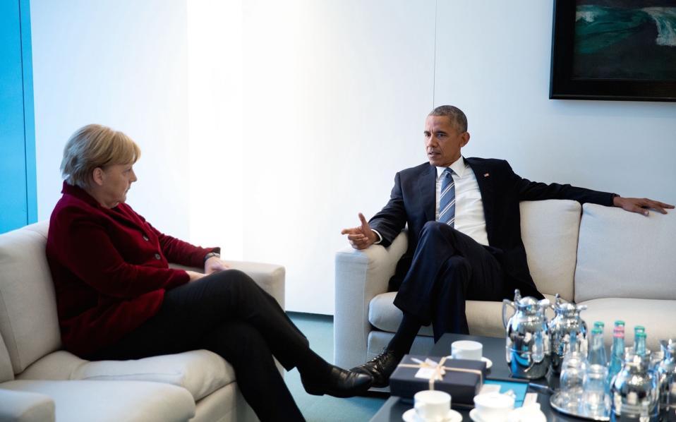Συζητώντας με την γερμανίδα Καγκελάριο.