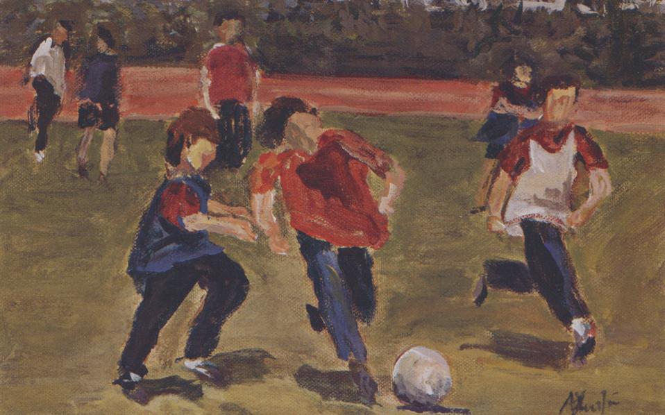 Ποδόσφαιρο ΙΙ, ακρυλικά σε καμβά, 25x30 εκ.