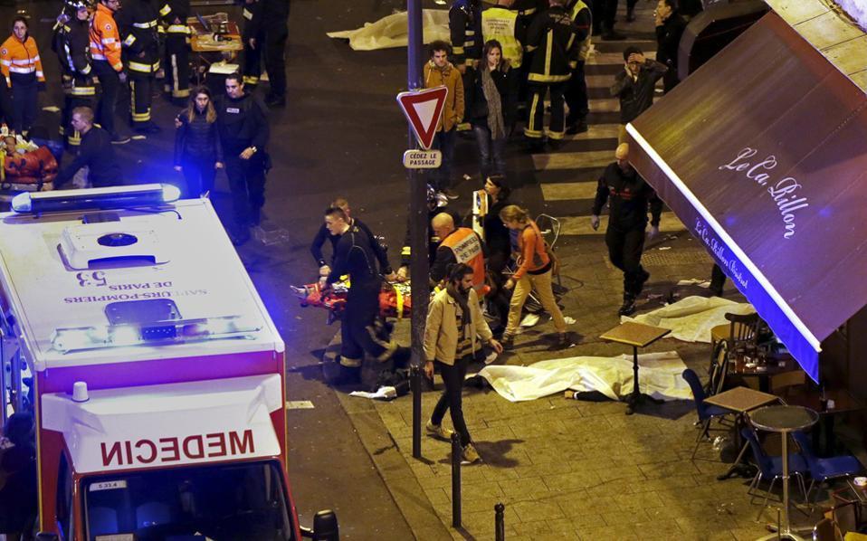 Ο συναυλιακός χώρος Μπατακλάν το βράδυ της επίθεσης το Νοέμβριο του 2015.