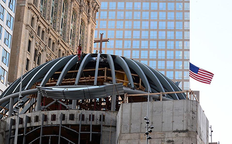 Την τελική μορφή πήρε το εξωτερικό του νέου Ιερού Ναού Αγίου Νικολάου στο Μανχάταν. Ο προηγούμενος, το μικρό ορθόδοξο εκκλησάκι που στεκόταν στο ίδιο σημείο από το 1916, είχε γίνει στάχτη κατά την τρομοκρατική επίθεση στους Δίδυμους Πύργους, την 11η Σεπτεμβρίου 2001.