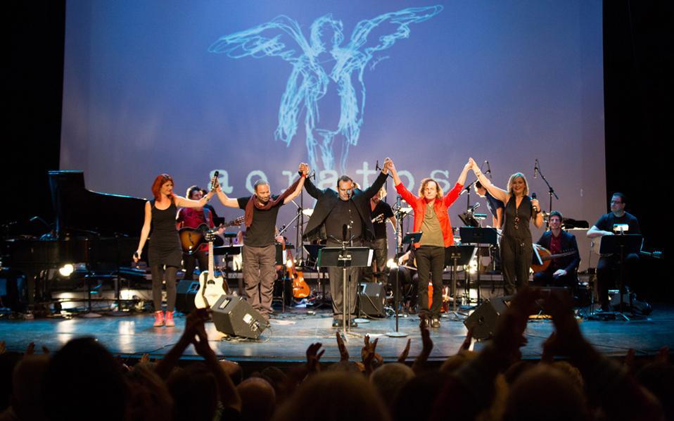 Από την παρουσίαση της μουσικής παράστασης «Αόρατος» στο Tribeca Performing Arts Center της Νέας Υόρκης το 2014.