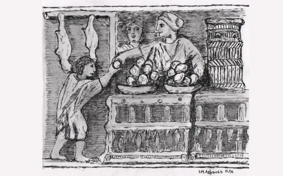 Πάγκος πώλησης τροφίμων σε υπαίθρια αγορά. Ρωμαϊκό ανάγλυφο 2ος μ. Χ. αιώνας.