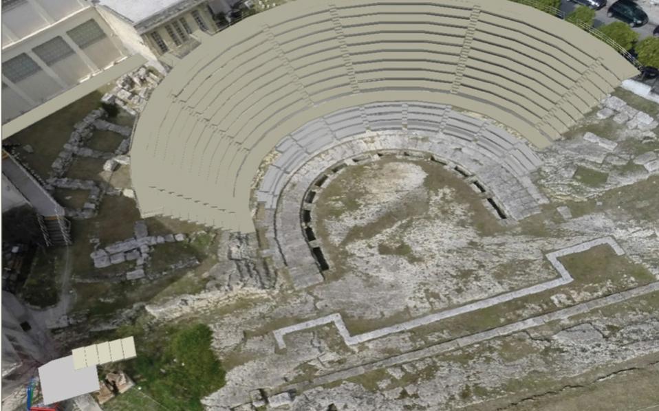 Το αρχαίο θέατρο Ζέας οπως θα είναι μετά την αποκατάσταση.