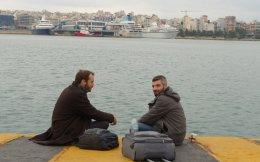 Ο Γερμανός δημοσιογράφος Φλόριαν Σμιτς (αριστερά) με τον Σουμάρ, στη Θεσσαλονίκη.